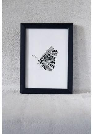 Billede til væggen af sommerfugl i sort flot ramme