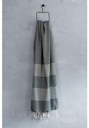Stribet tyrkisk håndklæde i traditionel hammam vævning - fra Viil