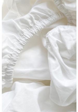 Faconsyet hvidt lagen af 100% økologisk bomuld fra VIIL