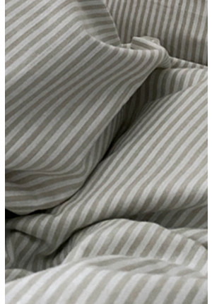 Sengetøj beige og hvide striber 200x220cm. økologisk bomuld fra VIIL