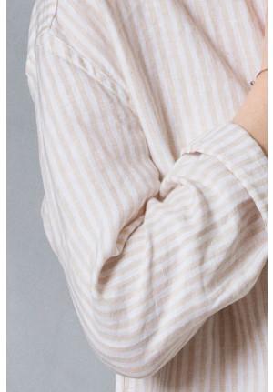Lang hør skjorte med striber - DUI fra VIIL