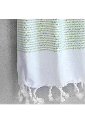 Stribet viskestykke i groen og hvid, kan også bruges som gæstehåndklæde