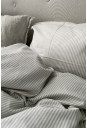 Sengetøj beige og hvid stribet 140x220cm. økologisk bomuld fra VIIL