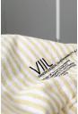 Økologisk sengesæt med gule og hvide striber til dobbeltdyne med ekstra længde